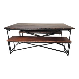 Recycled Wood Dining Table With Two Benches