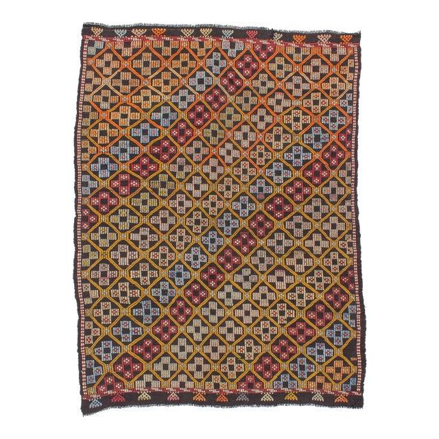 Turkish Kilim Embroidered Rug - 5′11″ × 7′11″ For Sale
