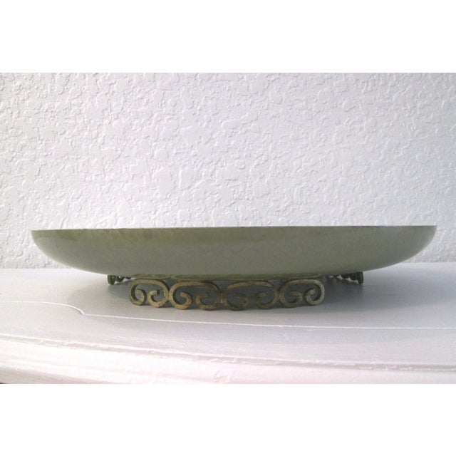 Kyes Moiré Olive Green Footed Bowl - Image 2 of 6