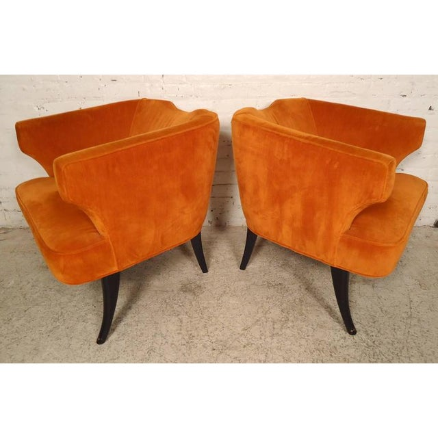 Textile Rare Mid-Century Barrel Back Armchairs - A Pair For Sale - Image 7 of 7