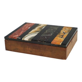 Italian Grand Tour Striped Specimen Marble Wood Box For Sale