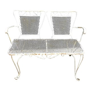 1950s White Iron Patio Bench For Sale
