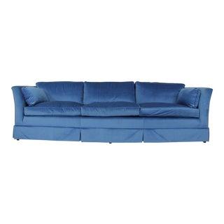 1970s Mid-Century Modern Sapphire Velvet Sofa For Sale