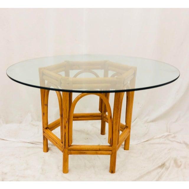 Brown Vintage Bent Rattan & Glass Table For Sale - Image 8 of 12
