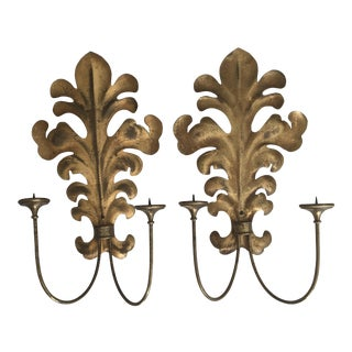 Hollywood Regency Brass Philodendron Candle Sconces - a Pair