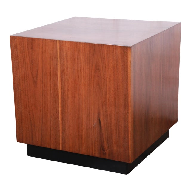 Milo Baughman Mid-Century Modern Walnut Cube Side Table or Coffee Table, Restored For Sale