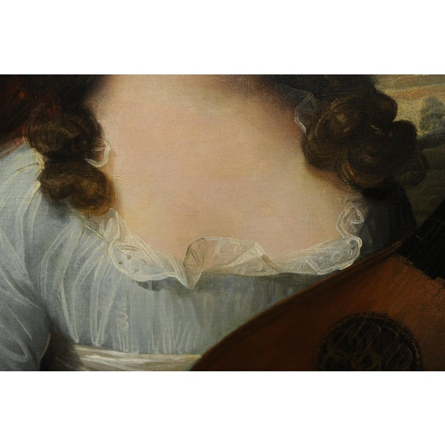 John Singleton Copley -Girl Playing the Lute-18th Century Oil Painting For Sale - Image 9 of 12