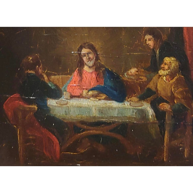 Late 18th Century Late 18th Century Supper With Jesus Flemish Oil Painting For Sale - Image 5 of 8
