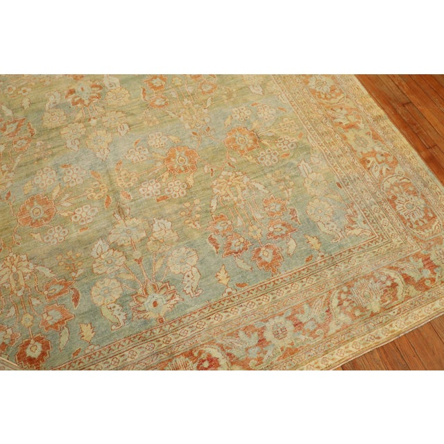 Pale Green Terracotta Antique Rug, 9'1'' X 12'7'' For Sale - Image 12 of 13