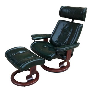 Ekornes Stressless Leather Recliner & Ottoman For Sale