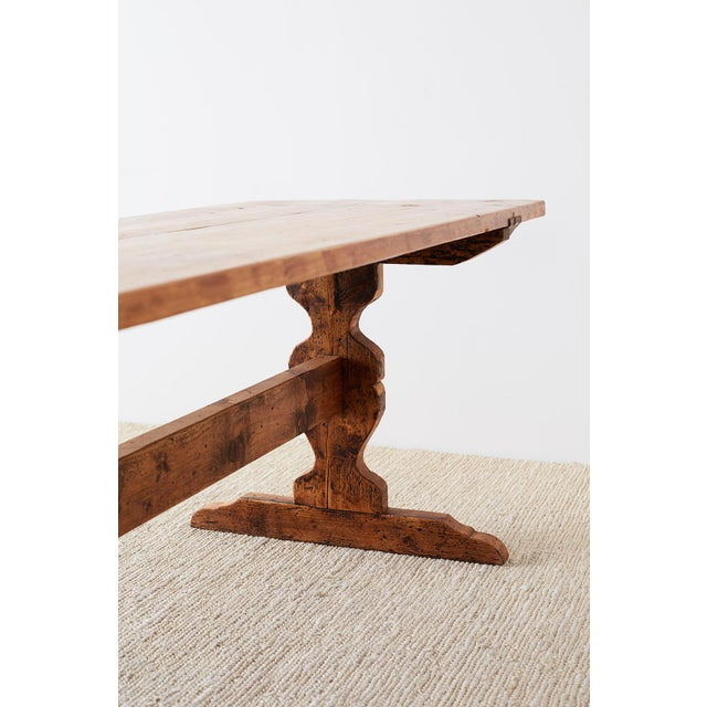 Rustic Italian Baroque Style Pine Trestle Farm Table For Sale - Image 12 of 13