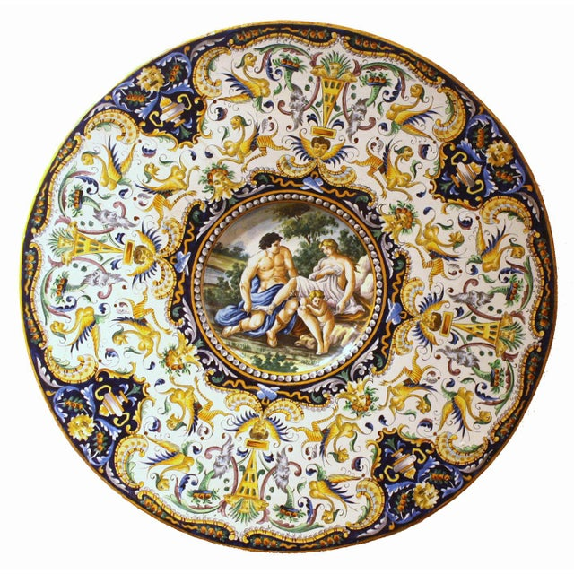 Two Large Renaissance Style Hand Painted Faience Chargers - Image 5 of 7