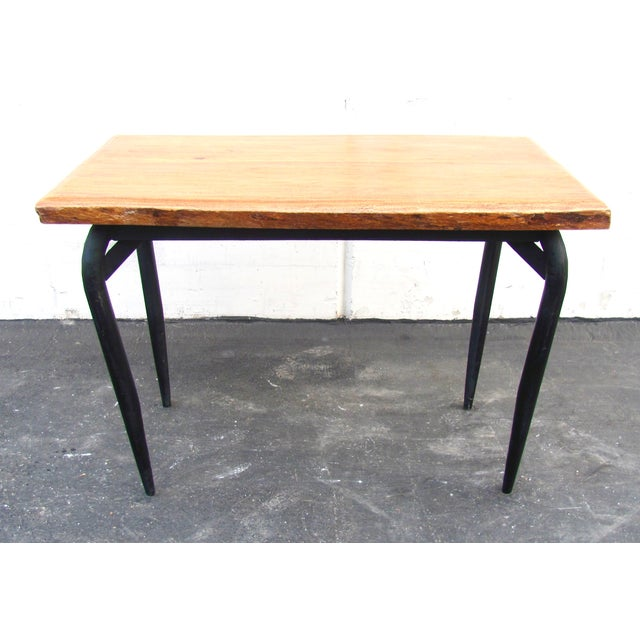 Industrial Natural Wooden Slab Table with Black Steel Base For Sale - Image 3 of 6