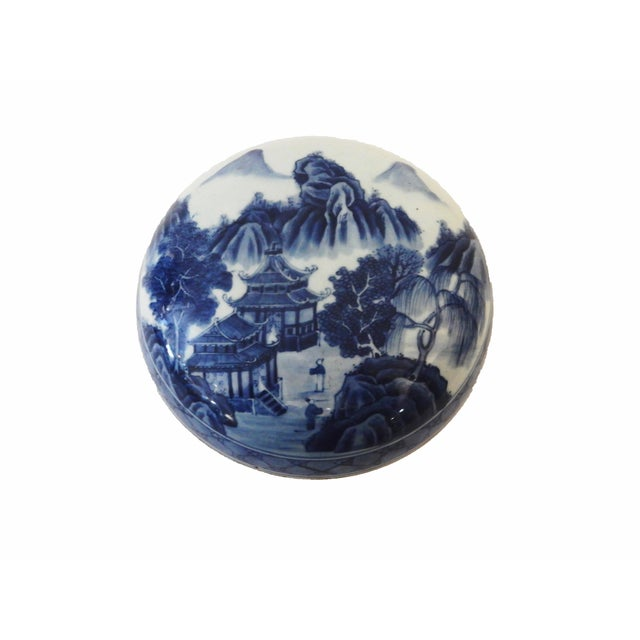 Blue & White Round Porcelain Canister - Image 7 of 7