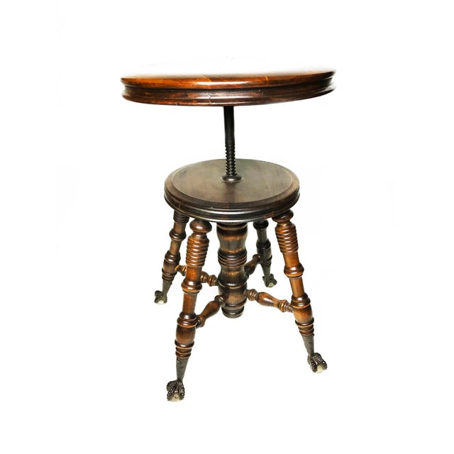 Adjustable Claw Foot Oak Piano Stool - Image 2 of 6