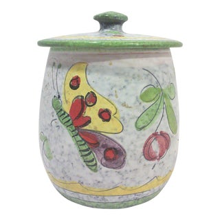 Mid-Century Ceramic Butterfly Canister Jar For Sale