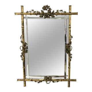 19th Century French Faux Bamboo Gilt Mirror With Bamboo Motif Etched Mirror Plate For Sale