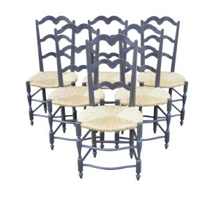 Vintage French Country Provincial Ladder Back Rush Seat Dining Chairs - Set of 6 For Sale