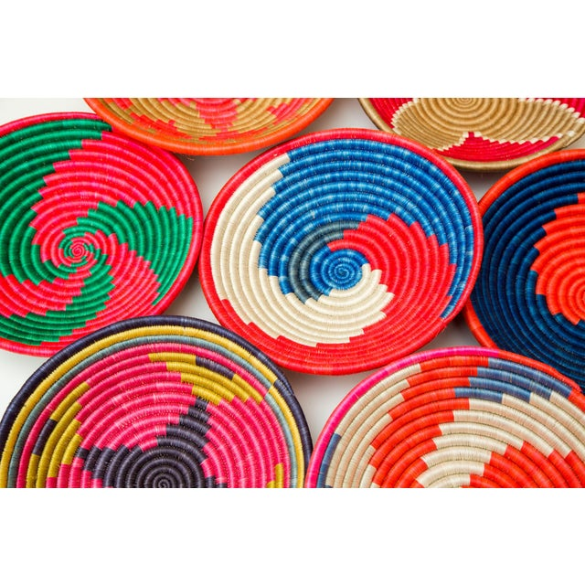 African Hand Woven Rwandan Baskets - Set of 3 For Sale - Image 3 of 4