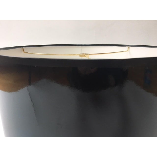 Handmade to order - ships in 1-2 weeks High gloss, lacquer-like black drum lampshade. High impact with a modern feel....