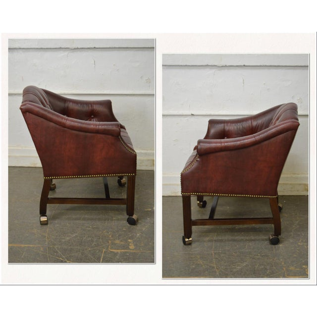Chippendale Chippendale Chesterfield Style Tufted Faux Leather Club Chair For Sale - Image 3 of 13