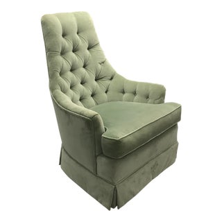 1950s Vintage Green Apple Velvet Swivel Chair For Sale