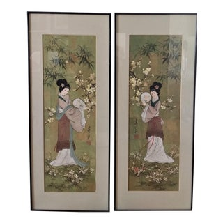 Japanese Original Geisha Art Paintings - a Pair For Sale