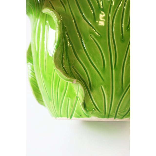 French Green Lettuce or Cabbage Leaf Cachepot by Jean Roger, Paris, France For Sale - Image 10 of 13