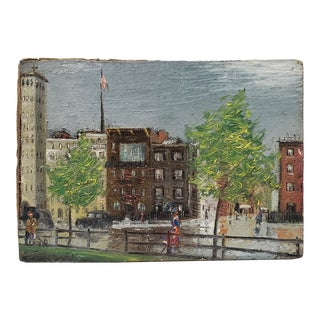 Early 20th Century American City Landscape Oil Painting by F. Haley C.1910 For Sale