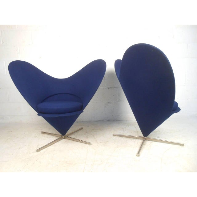 Pair Sculptural Modern Wingback Swivel Chairs - Image 2 of 6