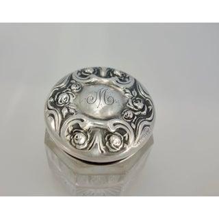 Vintage Sterling Silver & Pressed Glass Vanity Jars - a Pair Preview
