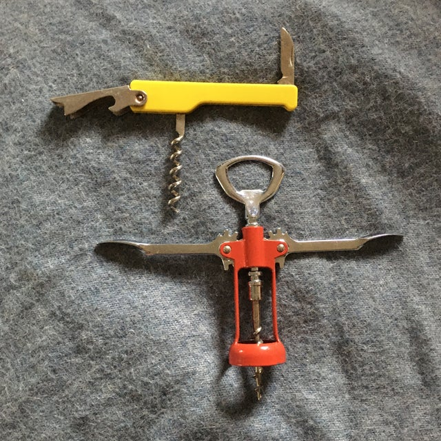 Vintage Italian Corkscrews in Red and Yellow - a Pair For Sale - Image 4 of 9