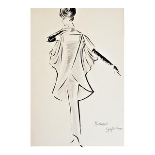 Matted 1960s Mid-Century Italian Fashion Drawing in Watercolor For Sale