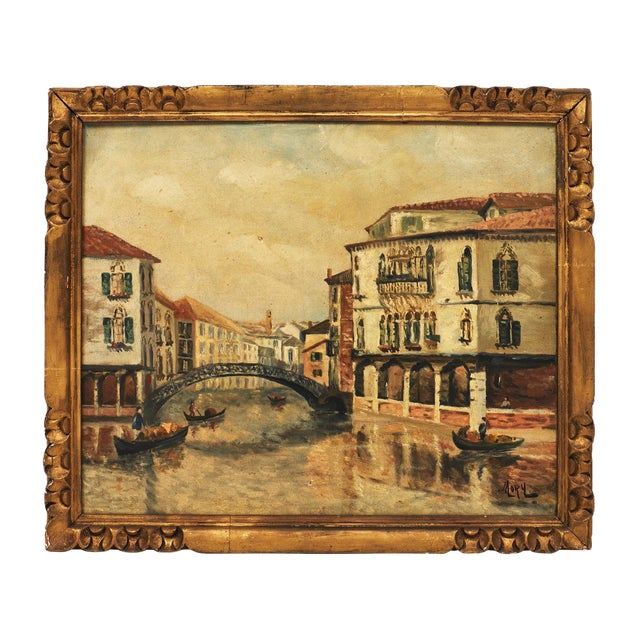 Antique Oil on Canvas of Venice For Sale