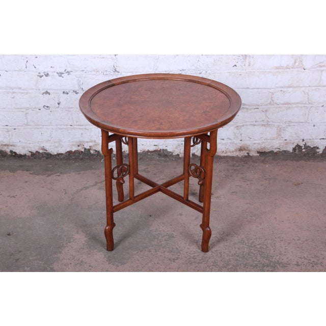 Asian Michael Taylor for Baker Far East Collection Walnut and Burl Wood Occasional Table For Sale - Image 3 of 11