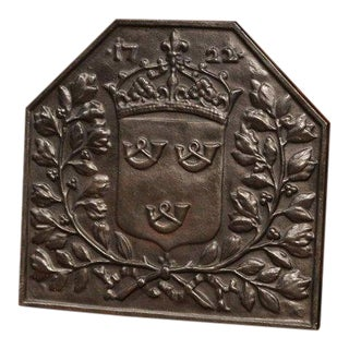 19th Century French Black Iron Fireback With Crown Family Crest and Foliage For Sale