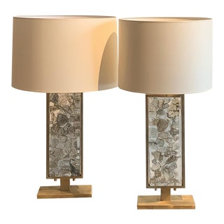 1970s Modernist Table Lamps in Brass and Glass, Italy - a Pair For Sale