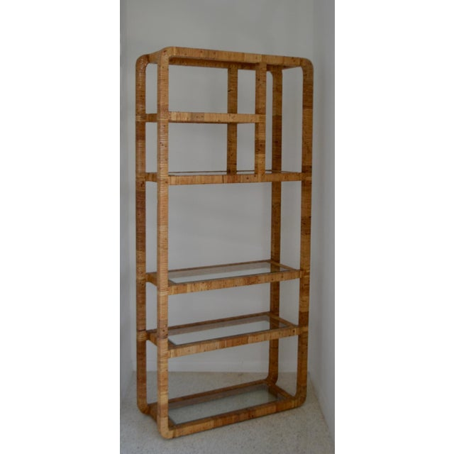 Mid-Century Rattan Bookcase For Sale In West Palm - Image 6 of 13