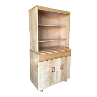 """Heywood Wakefield Blond """"Encore"""" Step Back Cupboard China Cabinet For Sale"""