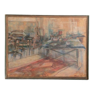1970s Abstract Interior Scene Oil Painting, Framed For Sale