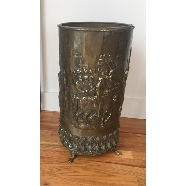 Gothic 20th Century Gothic Revival Brass Umbrella Stand For Sale - Image 3 of 7