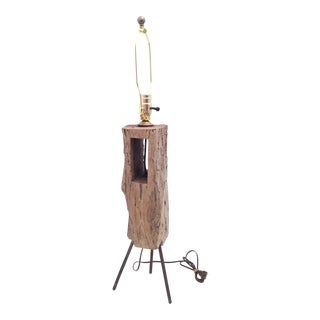 1950s Vintage Handmade Industrial Driftwood Table Lamp For Sale