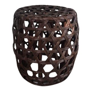 Modern Brown Woven Lattice Rattan Wicker Stool For Sale