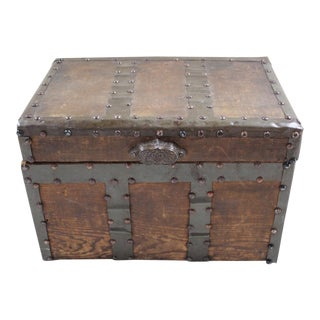 Rustic Pine & Metal Trunk For Sale