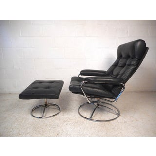 Contemporary Modern Reclining Swivel Lounge Chair and Ottoman Preview