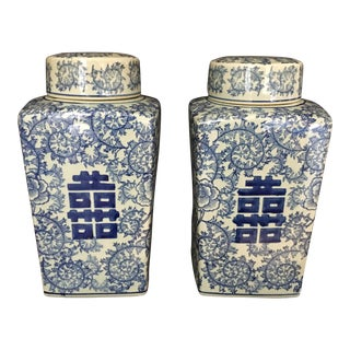 Chinese Blue & White Ginger Jars - a Pair For Sale