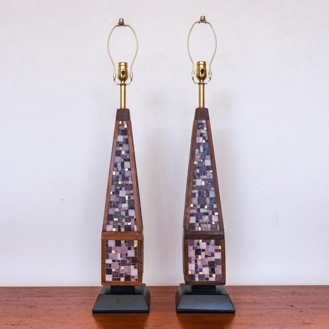 Mid-Century Modern Pair of Mosaic Lamps, 1950s For Sale - Image 3 of 9