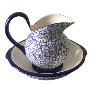 Blue and White Sponge Hand Painted Pitcher and Basin Wash Bowl Set For Sale