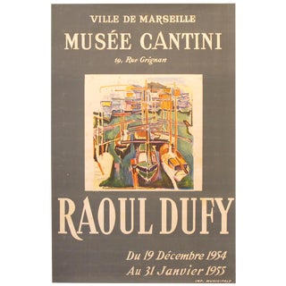 Raoul Dufy 1954 Marseilles Exhibition Poster, Harbour Scene For Sale