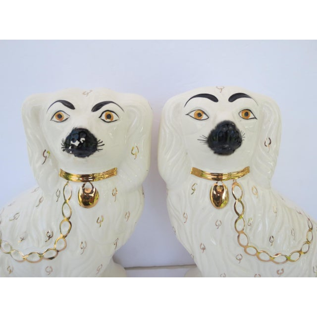 A fabulous pair of vintage original Staffordshire porcelain seated spaniel dogs. Beautiful gold details and hand-painted...